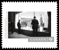 """Friends and Family and Trips. In front of Simpsons"" by Conrad Poirier Canada Postage Stamp 