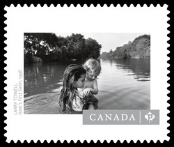 """Isaac's First Swim"" by Larry Towell Canada Postage Stamp 