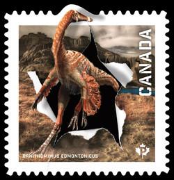 Ornithomimus Edmontonicus Canada Postage Stamp | Dinos of Canada