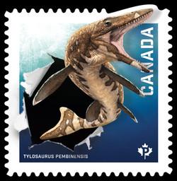 Tylosaurus Pembinensis Canada Postage Stamp   Dinos of Canada