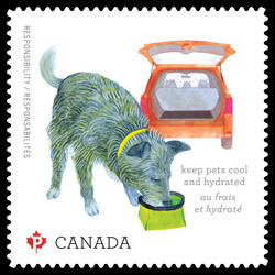 Keep Pets Cool and Hydrated Canada Postage Stamp | Love Your Pet - Responsibilities