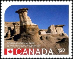 Hoodoos at Dinosaur Provincial Park Alberta Canada Postage Stamp | UNESCO World Heritage Sites in Canada