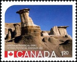 Hoodoos at Dinosaur Provincial Park Alberta Canada Postage Stamp | UNESCO World Heritage Sites inCanada
