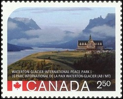 Waterton-Glacier International Peace Park Canada Postage Stamp | UNESCO World Heritage Sites in Canada