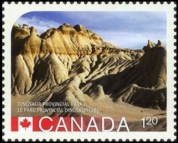 Dinosaur Provincial Park Alberta Canada Postage Stamp | UNESCO World Heritage Sites in Canada