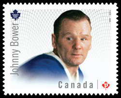 Johnny Bower - Toronto Maple Leafs Canada Postage Stamp | Great Canadian NHL Hockey Goalies