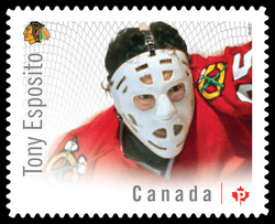 Tony Esposito - Chicago Blackhawks Canada Postage Stamp | Great Canadian NHL Hockey Goalies