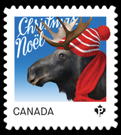 Moose - Christmas Animal Canada Postage Stamp | Christmas Animals