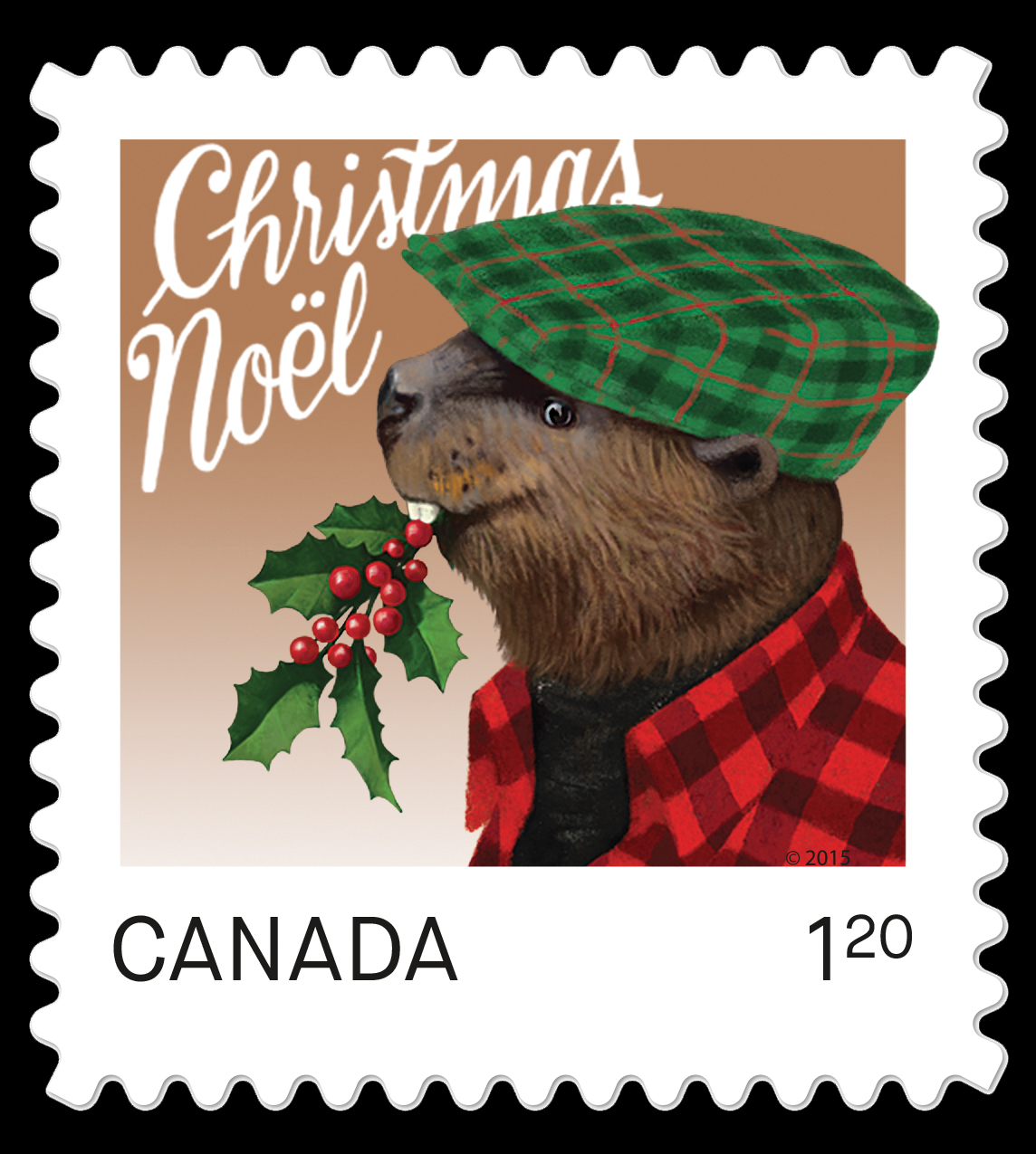 Beaver - Christmas Animal Canada Postage Stamp | Christmas Animals