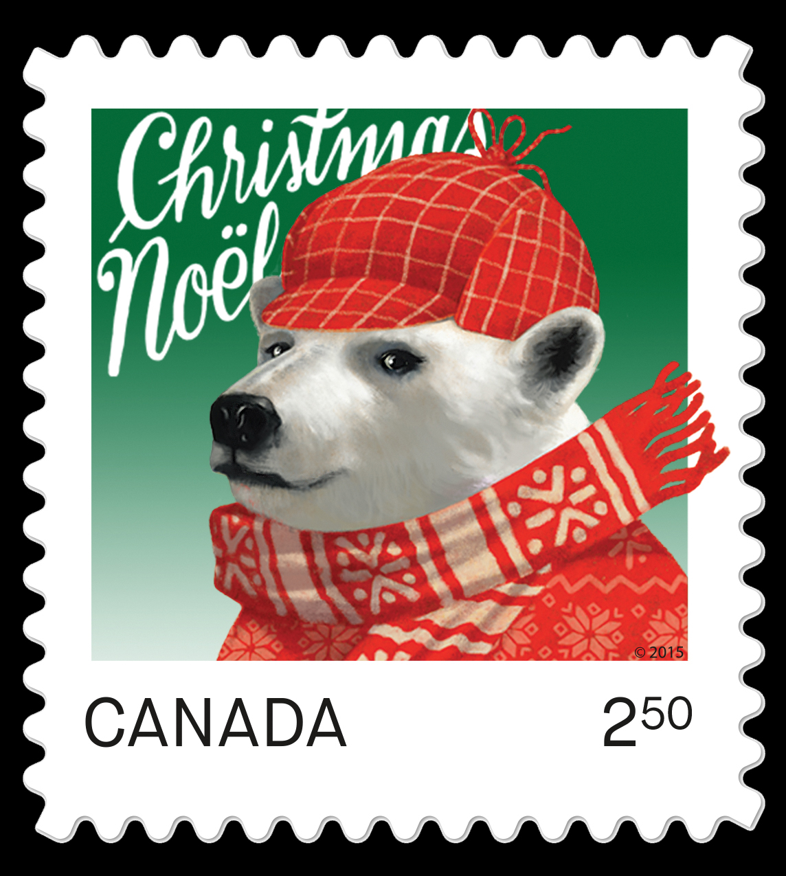 Polar Bear - Christmas Animal Canada Postage Stamp