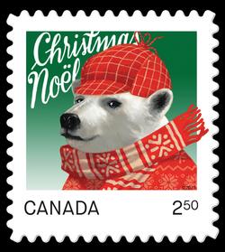 Polar Bear - Christmas Animal Canada Postage Stamp | Christmas Animals
