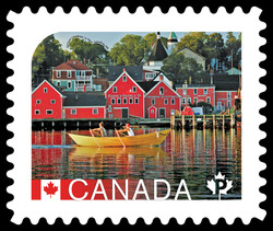 The Old Town of Lunenburg, Nova Scotia Canada Postage Stamp | UNESCO World Heritage Sites in Canada