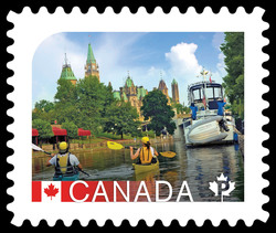 The Rideau Canal, Ontario Canada Postage Stamp | UNESCO World Heritage Sites in Canada