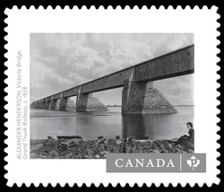 """Victoria Bridge, Grand Trunk Railway"" by Alexander Henderson (c. 1878) Canada Postage Stamp 