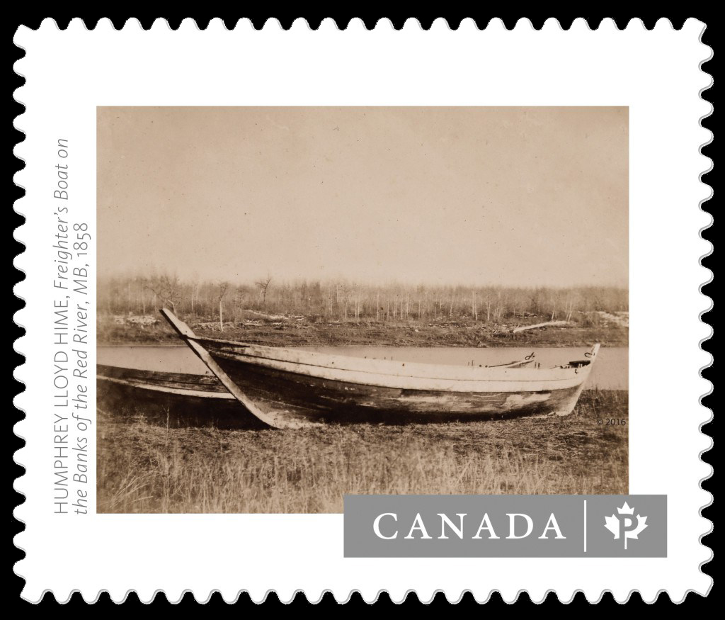 """Freighter's Boat on the Banks of the Red River, MB"" by Humphrey Lloyd Hime (1858) Canada Postage Stamp 