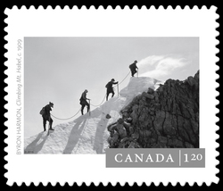 """Climbing Mt. Habel"" by Byron Harmon (c. 1909) Canada Postage Stamp 