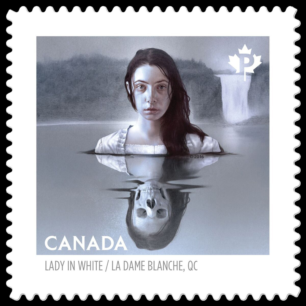 The Lady in White - Montmorency Falls, Quebec Canada Postage Stamp | Haunted Canada