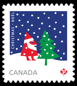 Rolf Harder's Santa Claus and Christmas Tree Canada Postage Stamp   Christmas 2016