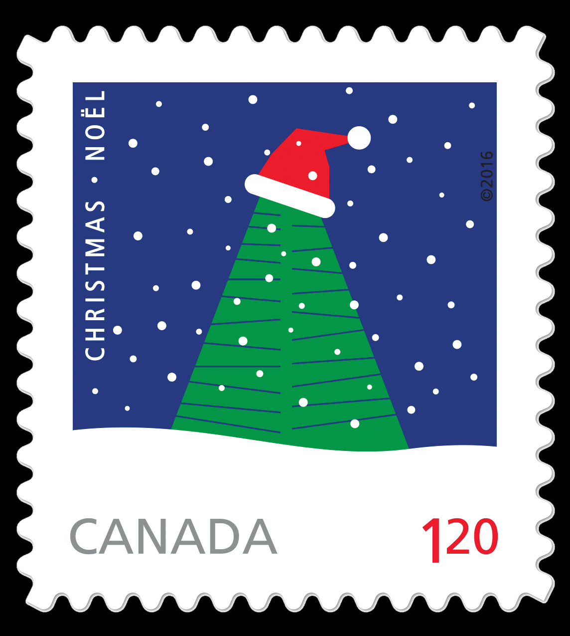Rolf Harder's Christmas Tree with Santa Hat Canada Postage Stamp | Christmas 2016