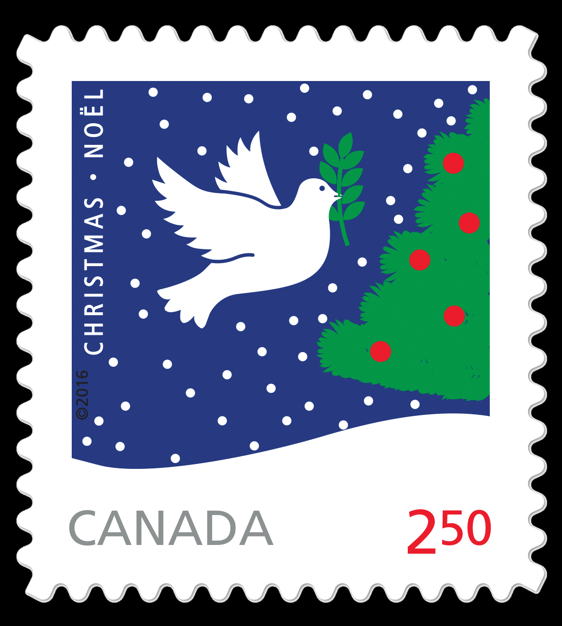 Rolf Harder's Dove and Christmas Tree Canada Postage Stamp | Christmas 2016