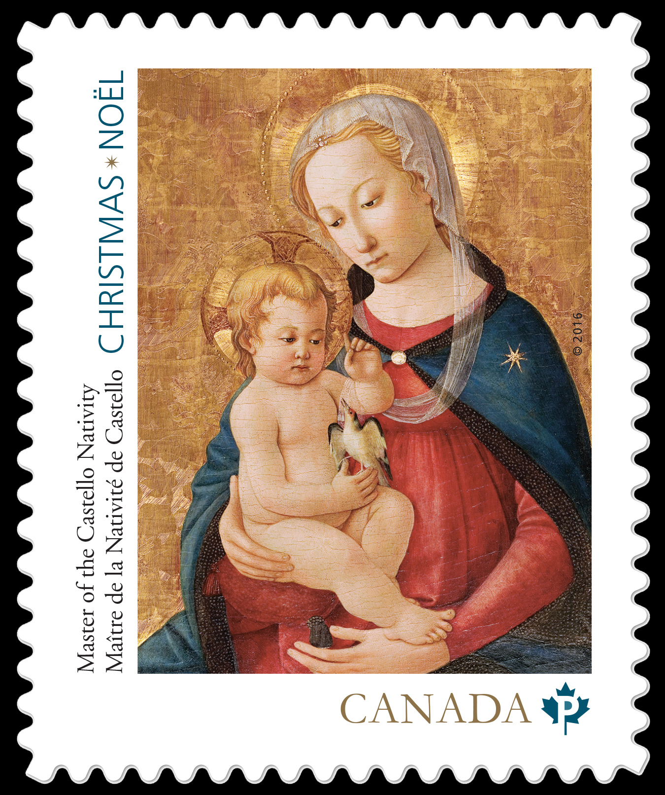 """Virgin and Child"" by the Master of the Castello Nativity. Canada Postage Stamp 
