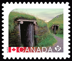 L'Anse aux Meadows National Historic Site - UNESCO World Heritage Site Canada Postage Stamp | UNESCO World Heritage Sites in Canada