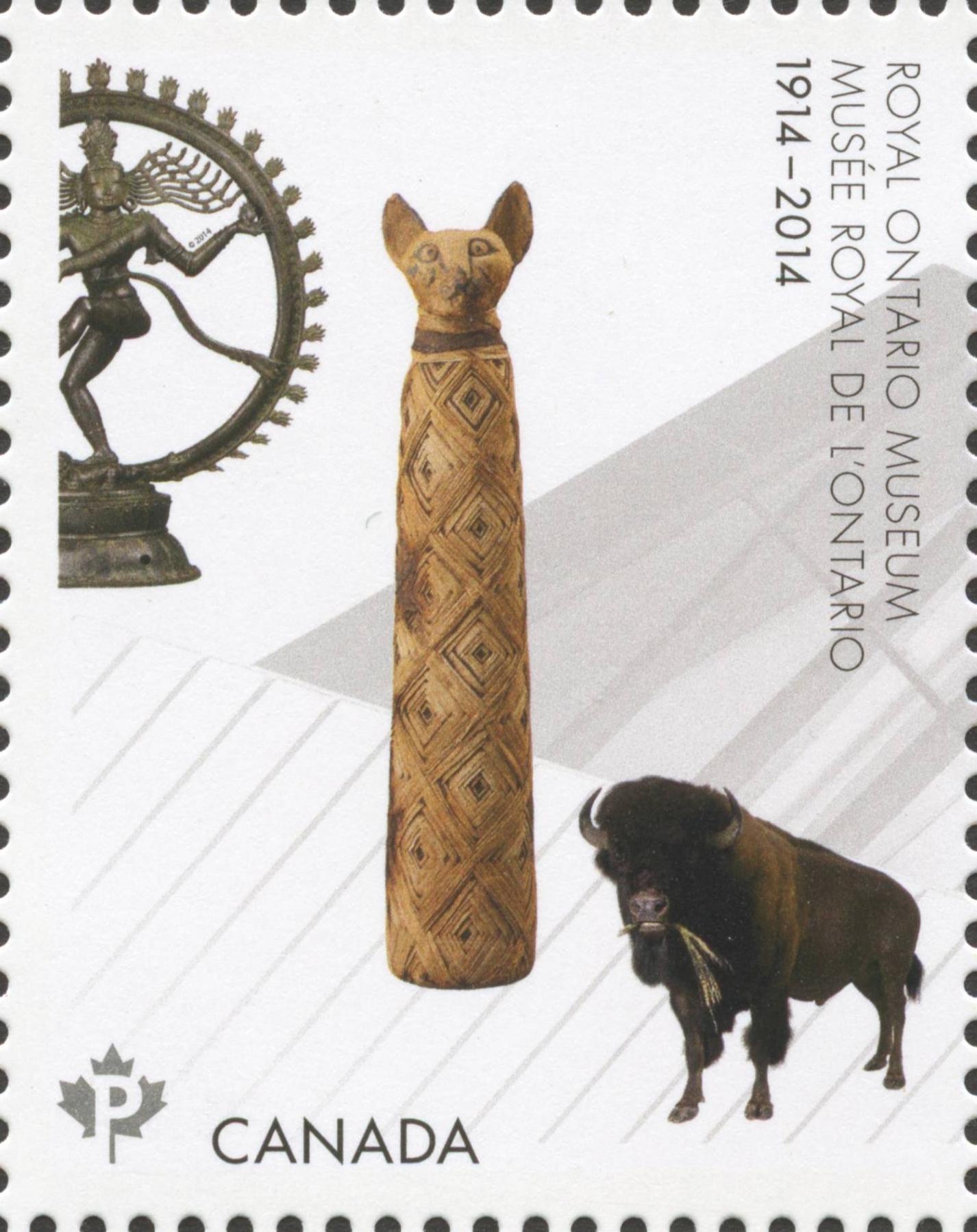 Royal Ontario Museum - Mummified Cat and the Shiva Natajara Sculpture  Canada Postage Stamp