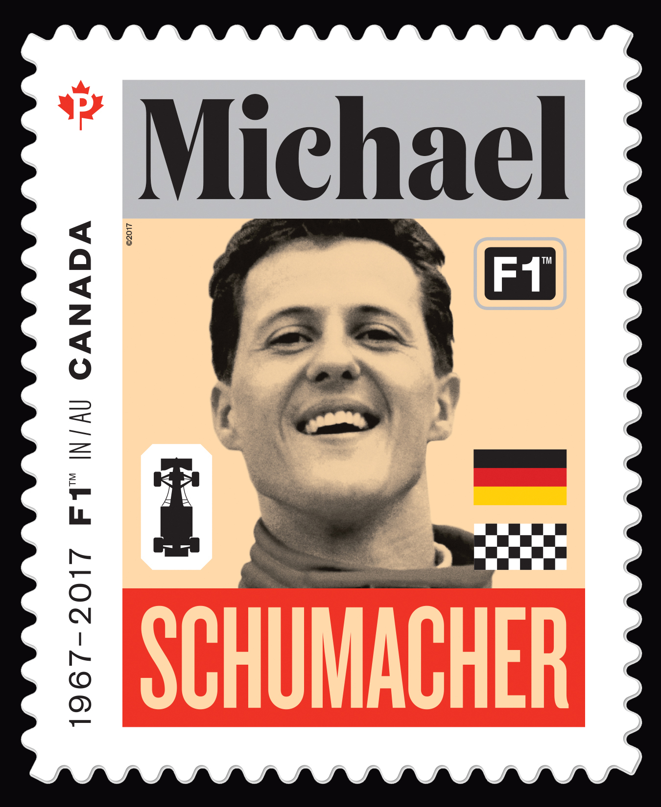 Michael Schumacher - Formula 1 Canada Postage Stamp | Formula 1 Racing - 50th Anniversary