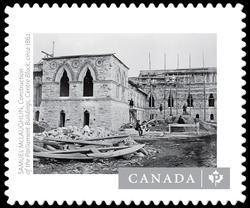 """Construction of the Parliament Buildings, Centre Block"" - Samuel McLaughlin Canada Postage Stamp"