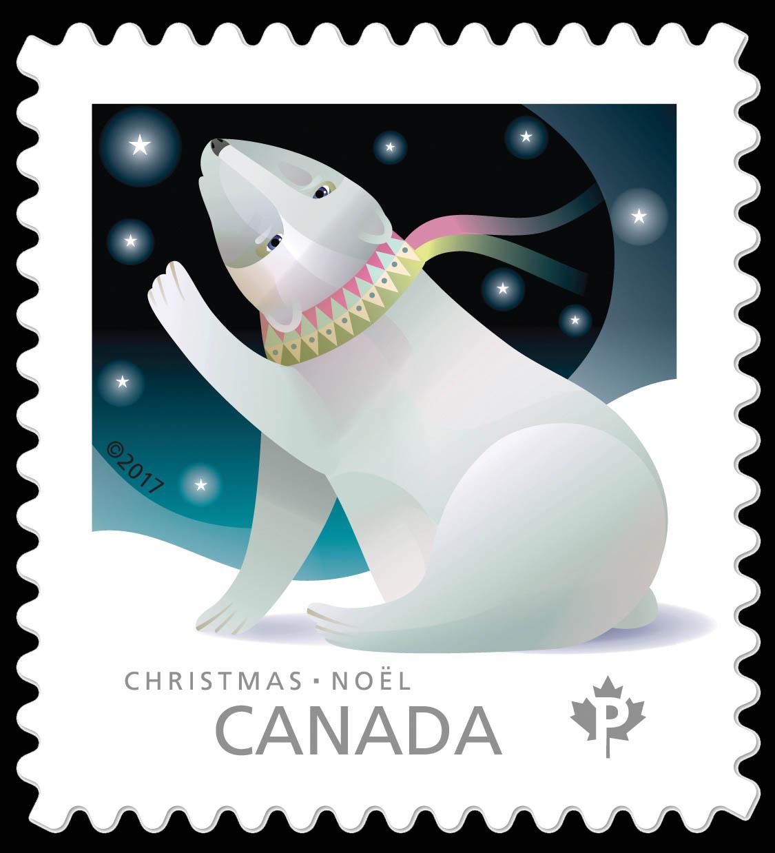 Polar Bear - Christmas Animals Canada Postage Stamp | Christmas 2017