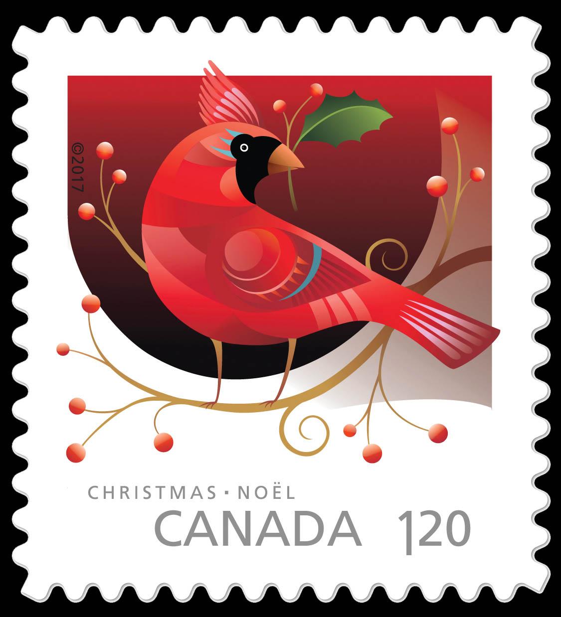 Cardinal - Christmas Animals Canada Postage Stamp | Christmas 2017