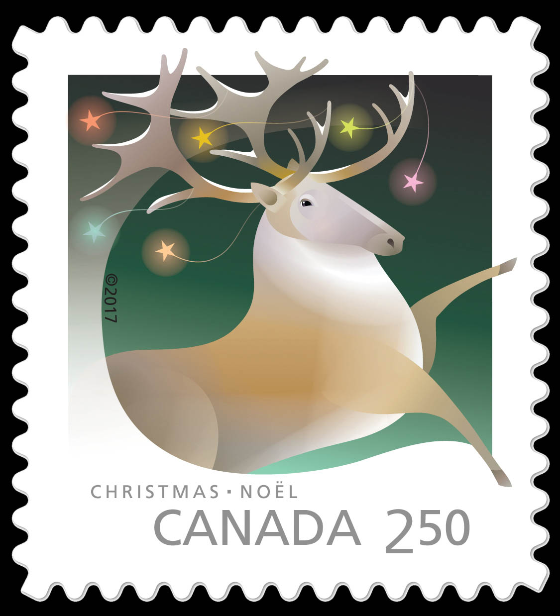 Caribou - Christmas Animals Canada Postage Stamp