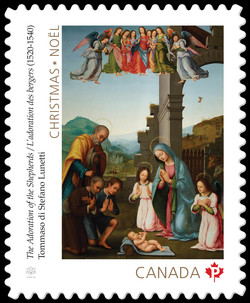 The Adoration of the Shepherds - Tommaso di Stefano Lunetti Canada Postage Stamp | Christmas 2017
