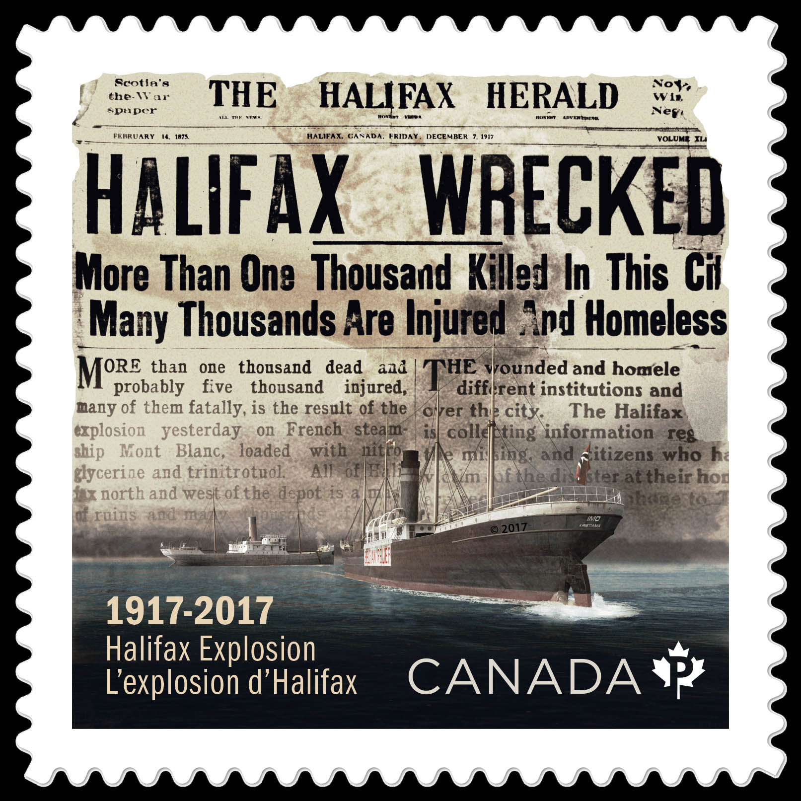 halifax explosion A brief background on the halifax explosion: the disaster occurred at 9:04:35 am on the morning of thursday, december 6, 1917 it was the result of an unlikely collision in the narrows of halifax harbour, involving the french ship, mont blanc - loaded with tons of wet and dry picric acid, tnt, gun cotton and benzol - and the belgian relief vessel, imo, under norwegian registry.