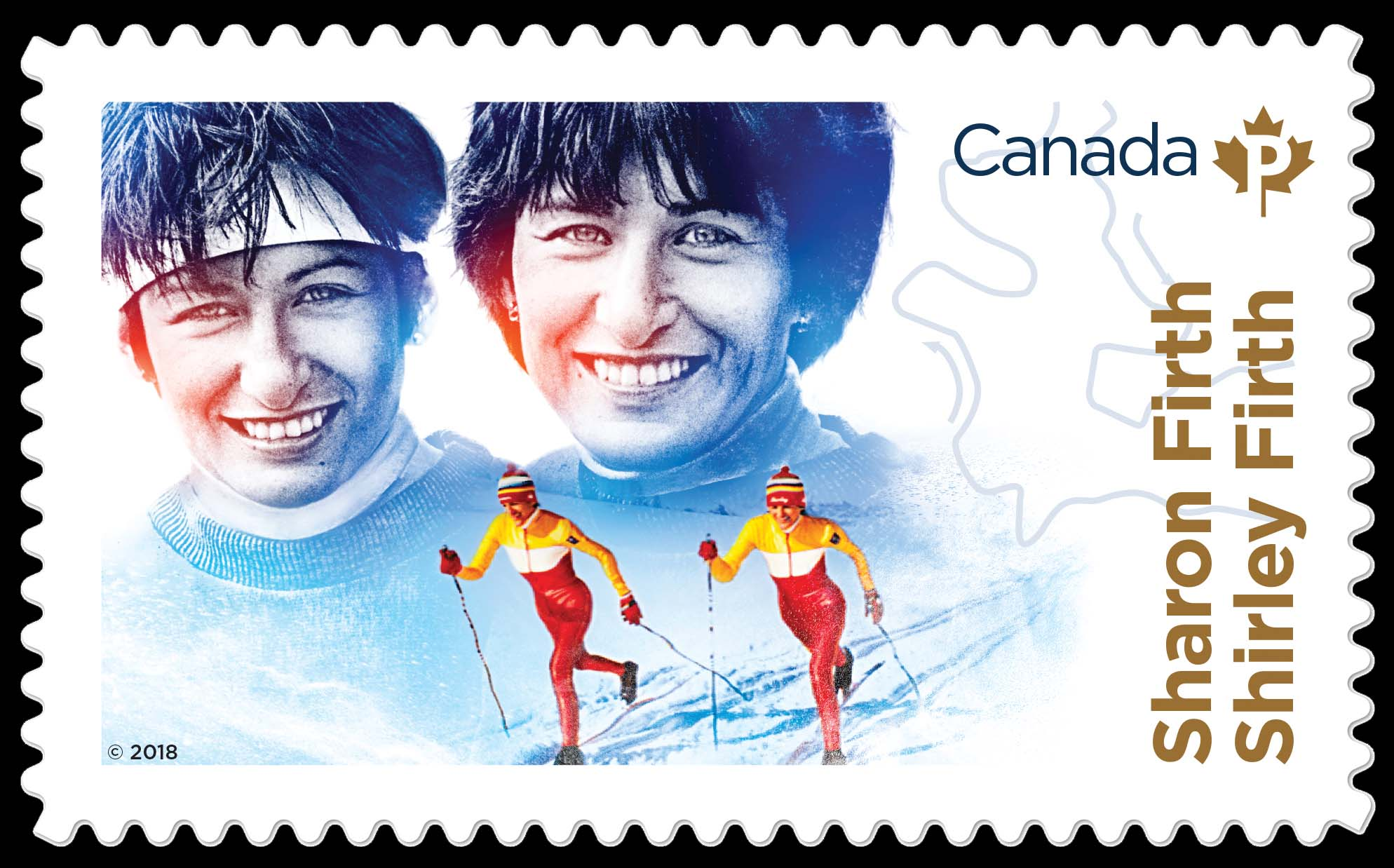 Sharon and Shirley Firth Canada Postage Stamp | Canadian Women in Winter Sports