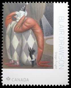 Stage Fright - Blair Drawson Canada Postage Stamp | Great Canadian Illustrators