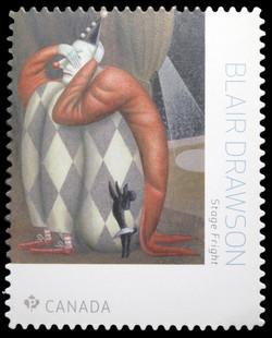 Stage Fright - Blair Drawson Canada Postage Stamp | Great Canadian Illustrators