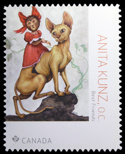 Best Friends - Anita Kunz Canada Postage Stamp | Great Canadian Illustrators