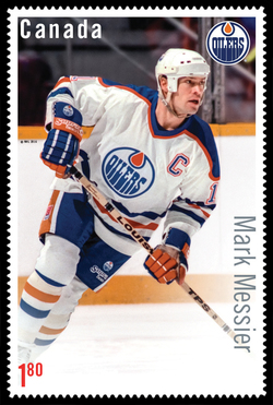 Mark Messier Canada Postage Stamp | Great Canadian NHL Hockey Forwards