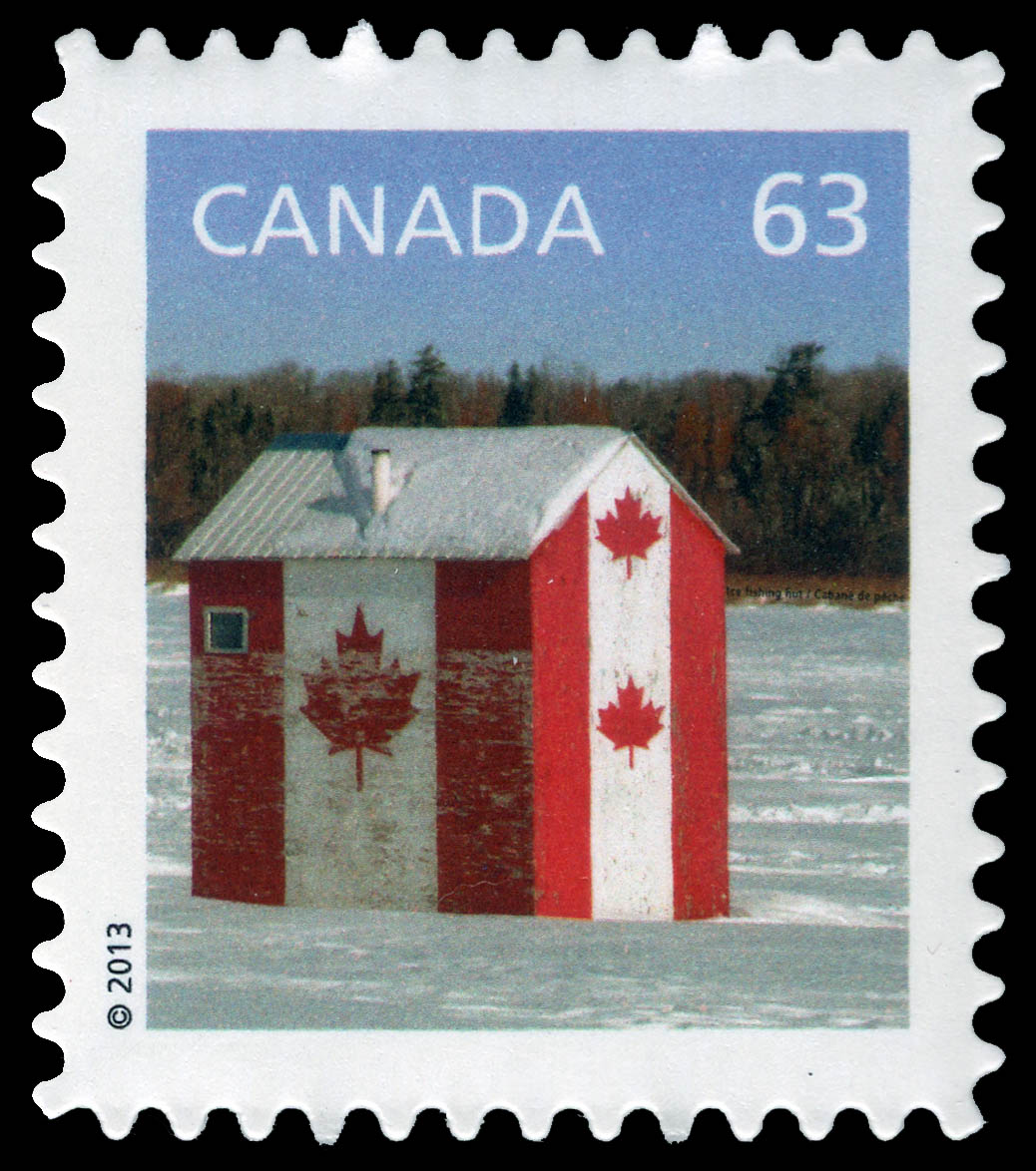 Ice Fishing Hut Flag Design Canada Postage Stamp