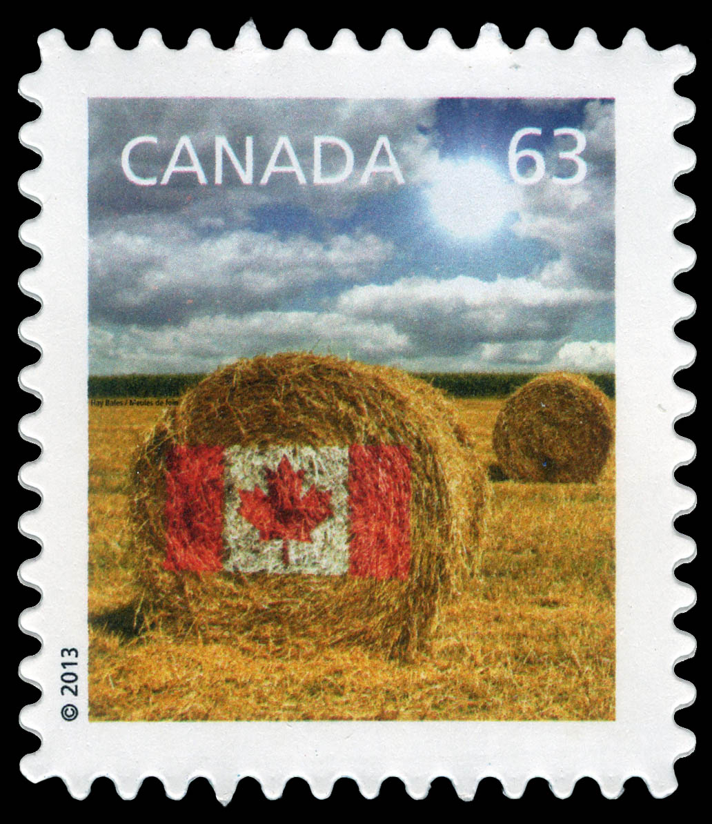 Prairie Hay Bale Flag Design Canada Postage Stamp