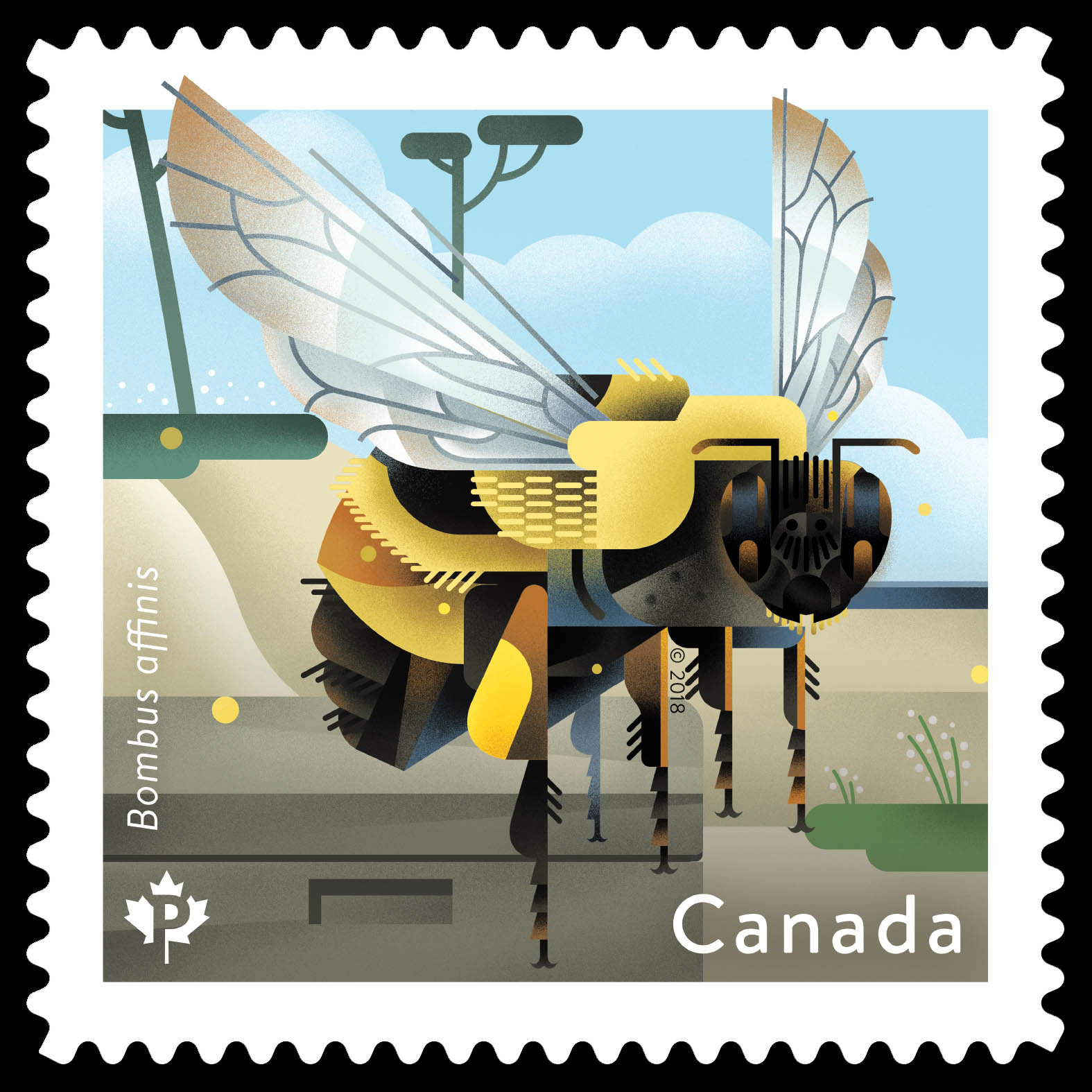 Rusty-patched Bumble Bee - Bombus Affinis Canada Postage Stamp   Bees