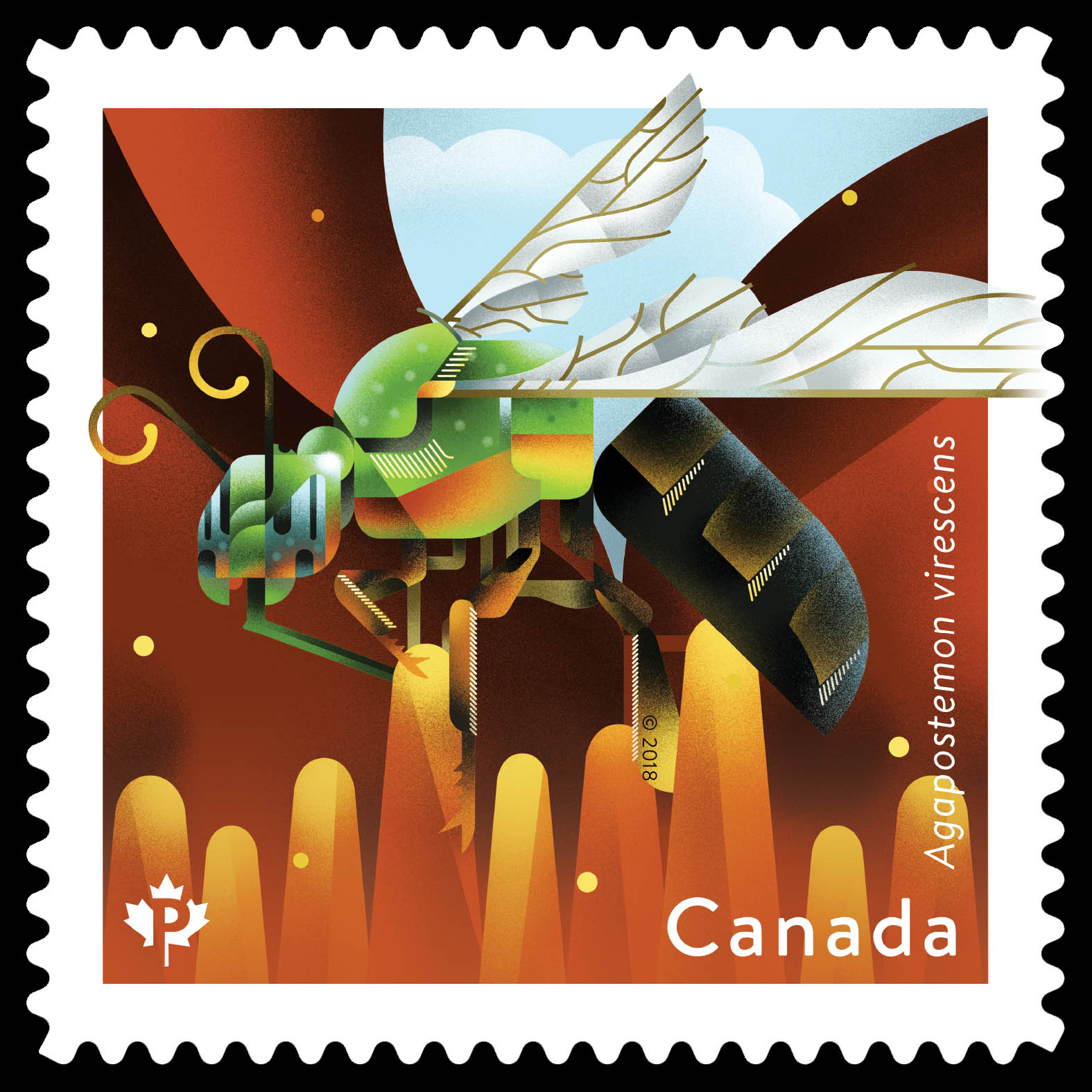 Metallic Green Bee - Agapostemon Virescens Canada Postage Stamp | Bees