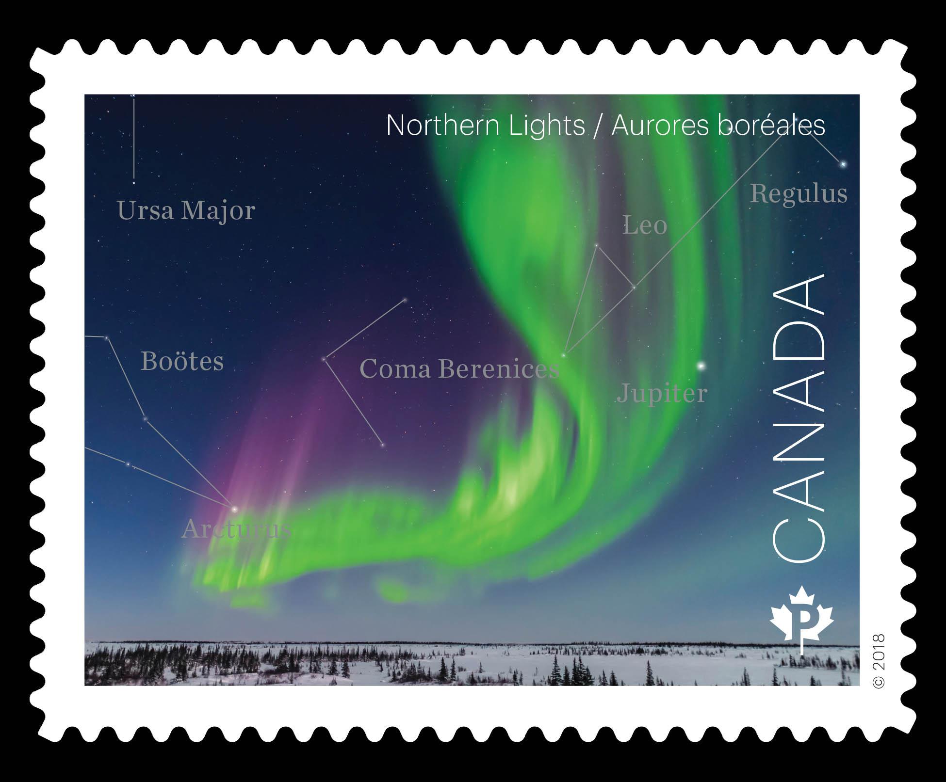 Northern Lights - Aurora Borealis Canada Postage Stamp   Astronomy