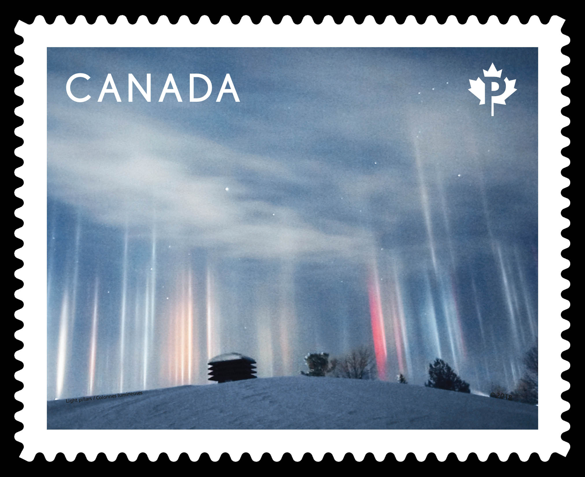Light Pillars Canada Postage Stamp | Weather Wonders