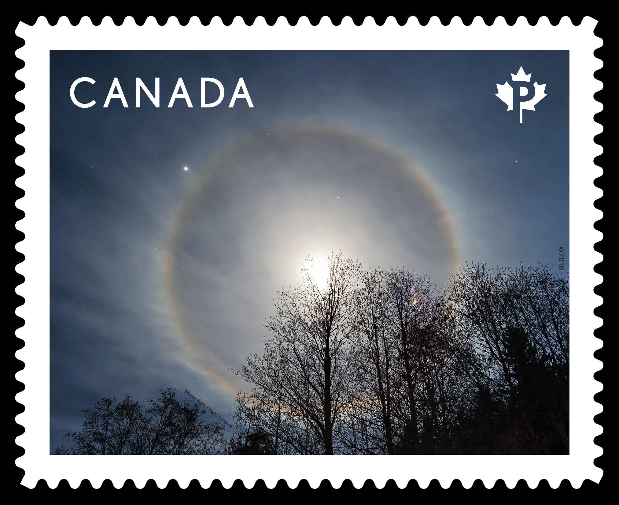 Moon Halo Canada Postage Stamp | Weather Wonders