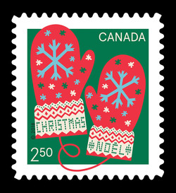 Christmas Mittens Canada Postage Stamp | Warm and Cosy - Christmas 2018
