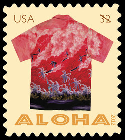 Red Surfers Aloha Shirt United States Postage Stamp | Aloha Shirts