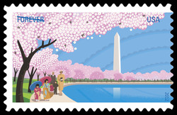 Cherry Blossoms With Washington Monument United States Postage Stamp | Cherry Blossom Centennial