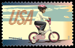 Bike With Training Wheels United States Postage Stamp | Bicycling